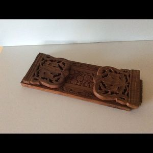 Hand Carved in India Ornate Book Rack Expandable